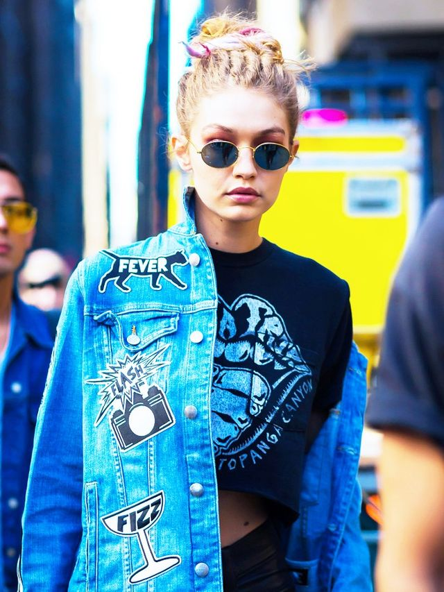 Style Notes: Let Gigi be your guide for cool-girl styling trickery in three simple steps: 90s sunglasses? On. Pout? Of course. One shoulder out? Done.