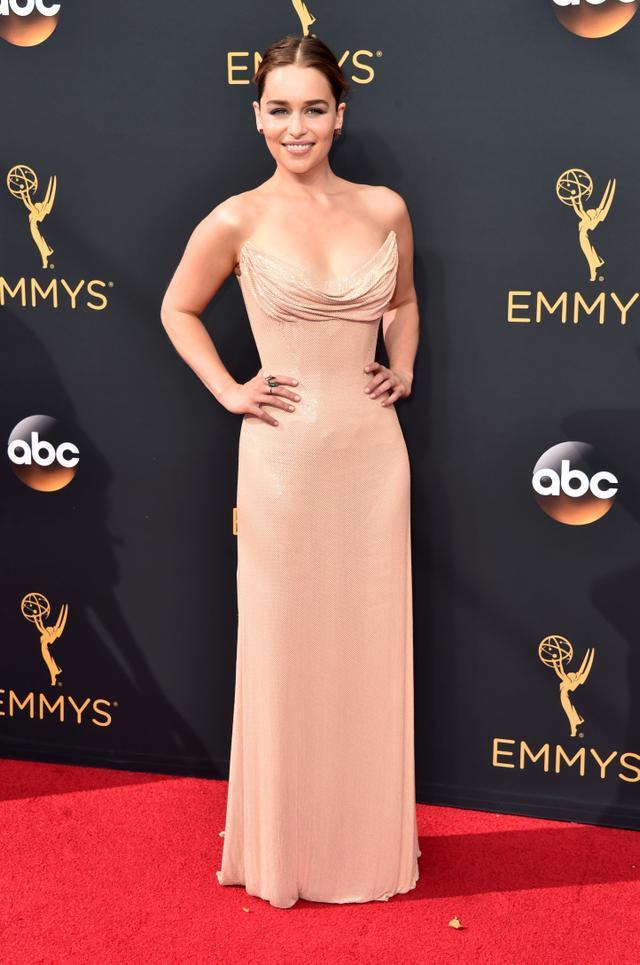 On Emilia Clarke:Atelier Versace gown;Jack Vartanian earrings.