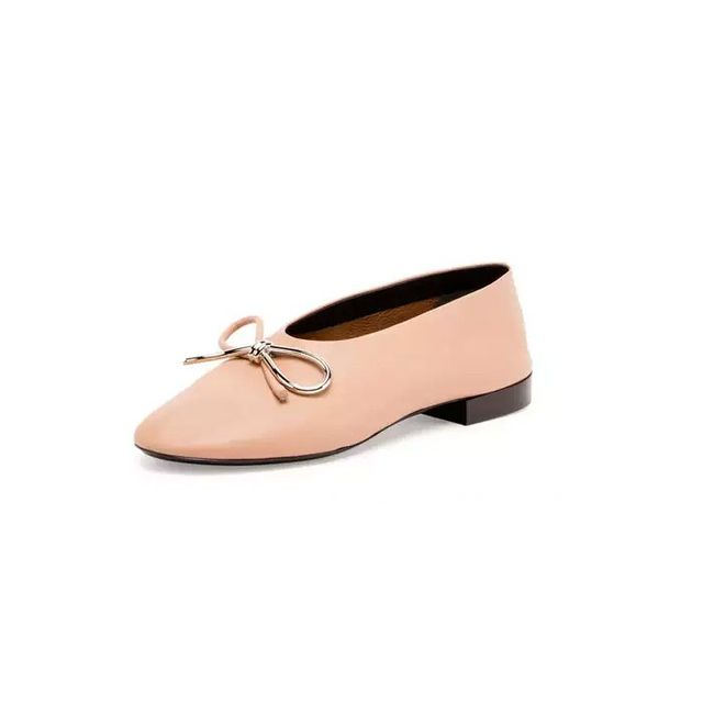 Balenciaga Leather Bow Ballerina Flat, Nude