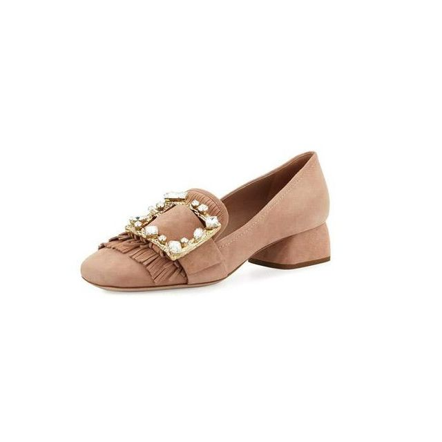 Miu Miu Suede Jewel-Buckle 35mm Loafer
