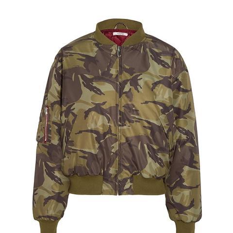 Camouflage-Print Shell Bomber Jacket