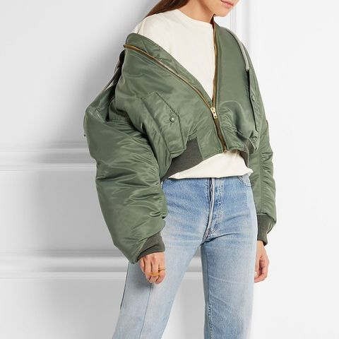 Shell Hooded Bomber Jacket
