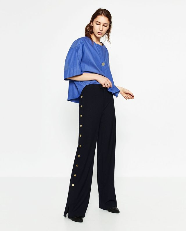 Zara Trousers With Golden Side Buttons