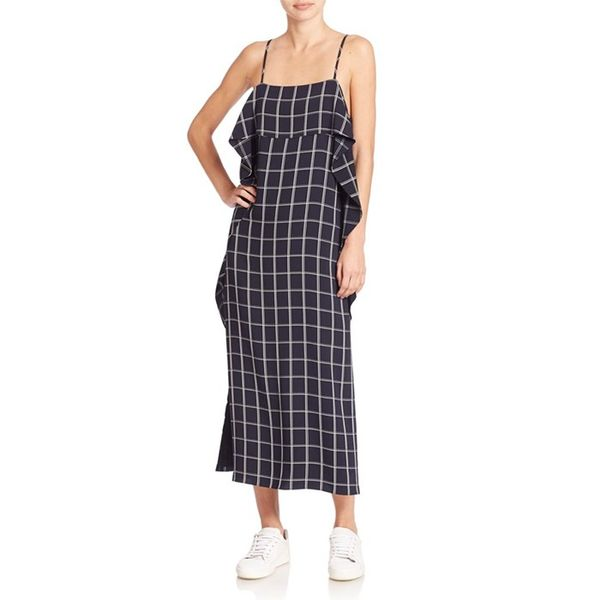 Elizabeth and James Marlee Windowpane Ruffle Dress