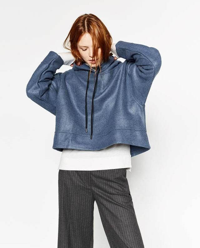 Zara Short Hooded Sweatshirt