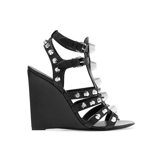 Balenciaga Studded textured-leather wedge sandals