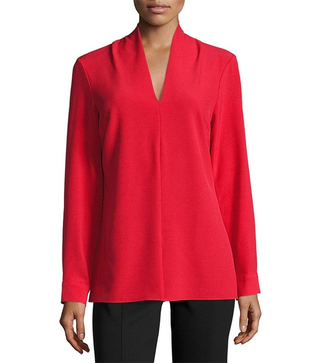 Neiman Marcus V-Neck Long-Sleeve Crepe Blouse
