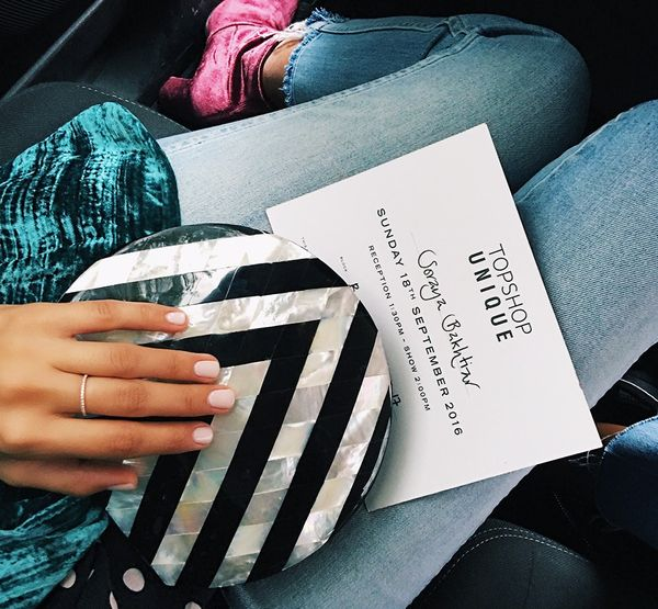 """I'm never without my Nathalie Trad clutch this season and always riding in Uber. (Make sure you enter the promo code SORAYA to get a special discount on your first ride). This was me..."