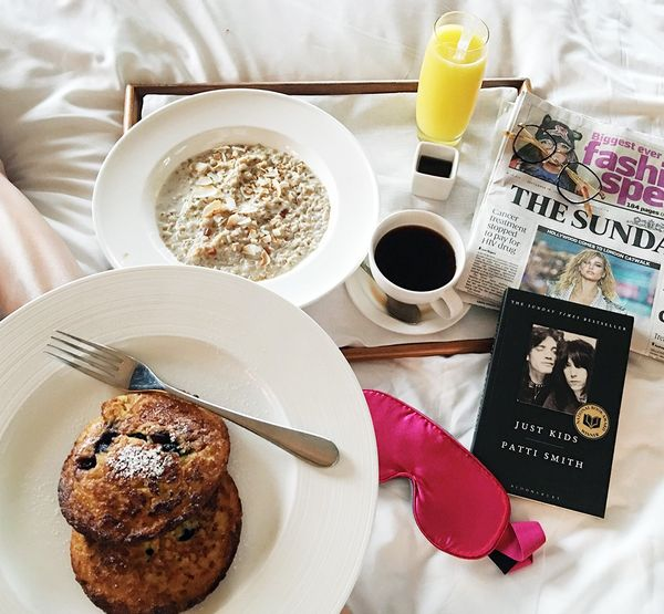 """Pre-Topshop, I fueled up with some award-winning porridge and some gluten-free coconut and blueberry pancakes. When in doubt over your breakfast choices, get both."""