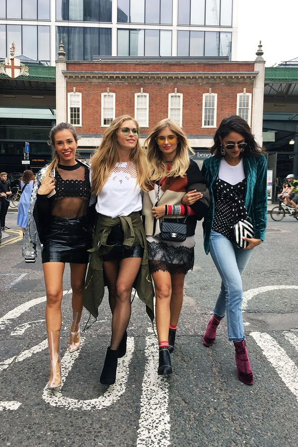 """Serious Girl Squad. Strolling down the street with Marta, Maja and Xenia. Find the intruder. """