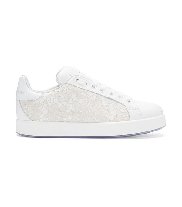Dolce & Gabbana White Leather & Lace Sneaker
