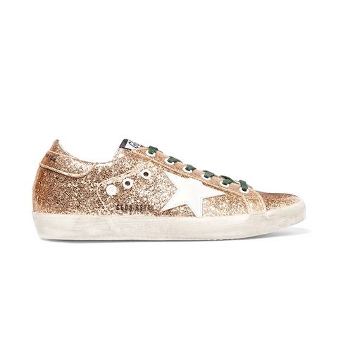 Super Star Distressed Glittered Leather Sneaker