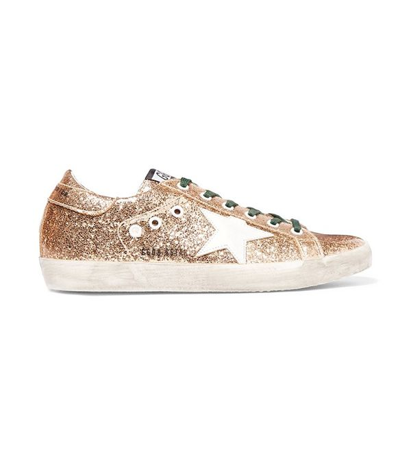 Golden Goose Deluxe Brand Super Star Distressed Glittered Leather Sneaker