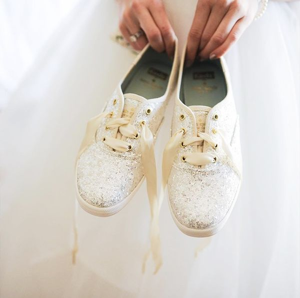 Bride wedding sparkling sneakers.