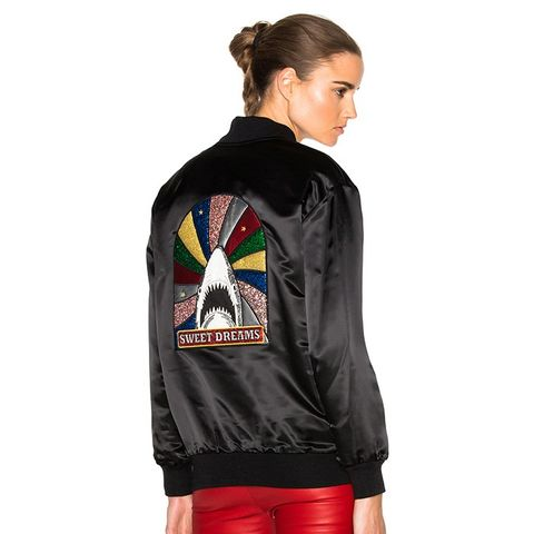 Oversize Shark Sequin Patch Teddy Jacket