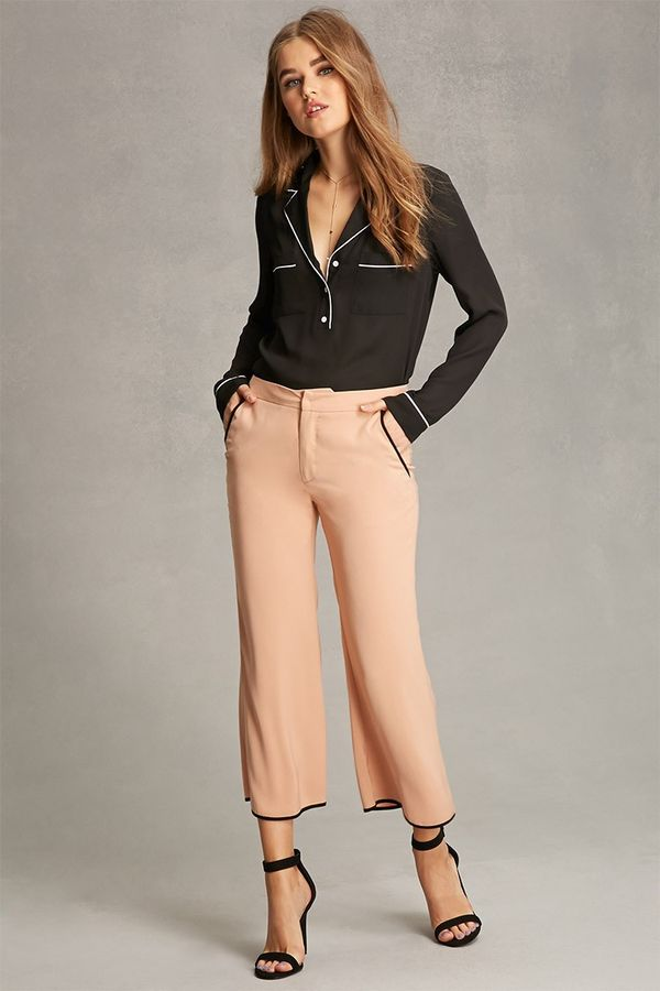 Forever 21 Contrast-Piped Woven Pants