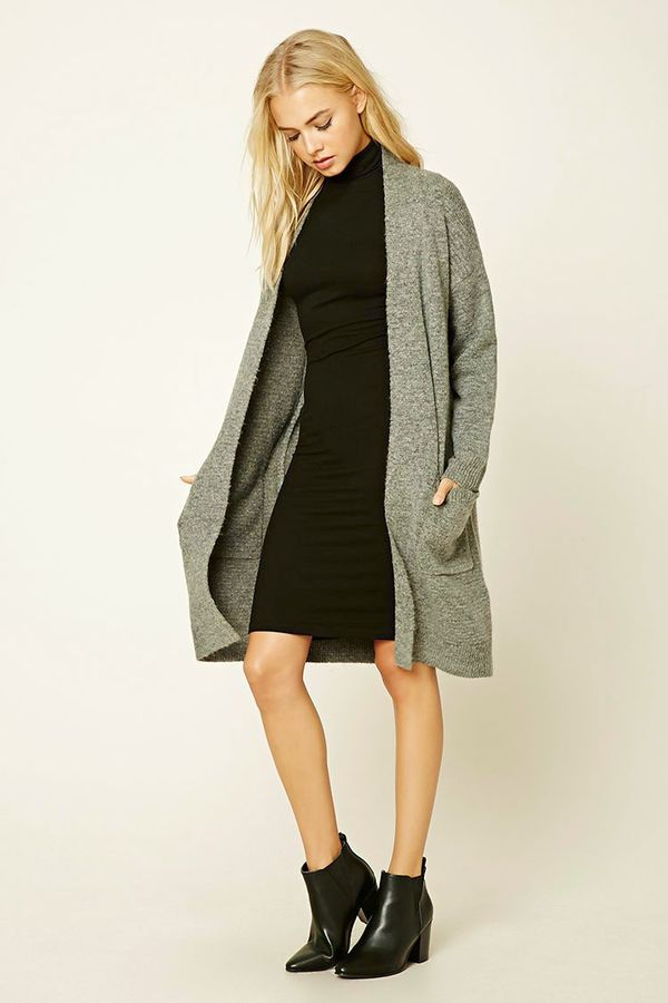 Forever 21 Wool-Blend Longline Cardigan