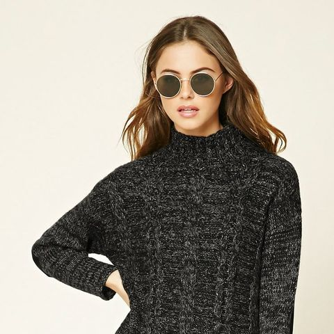 Marled Knit Mock Neck Sweater