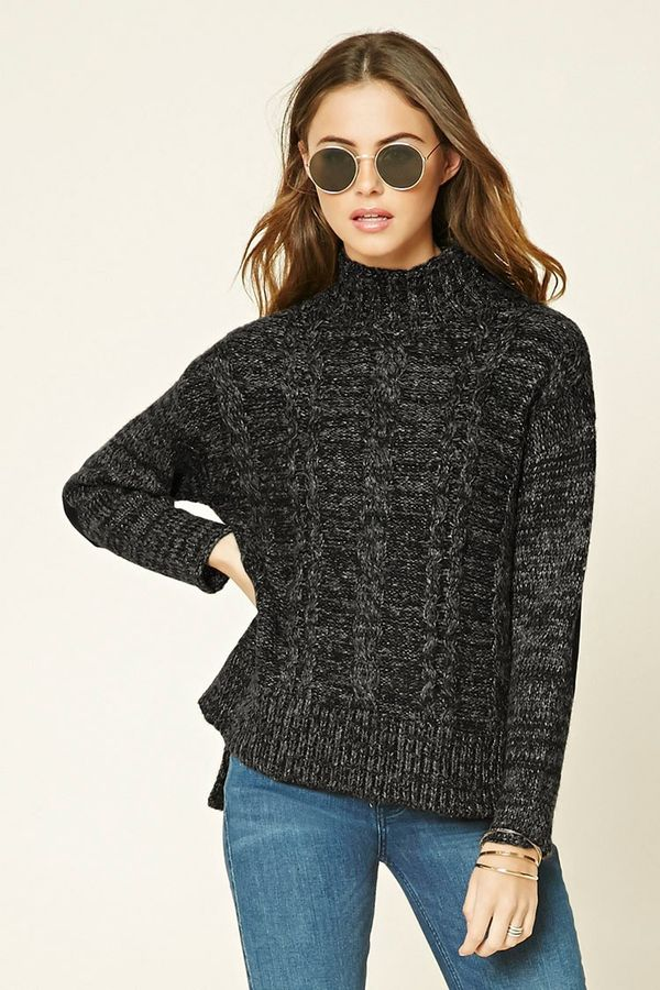 Forever 21 Marled Knit Mock Neck Sweater