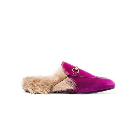 Horsebit-Detailed Shearing-Lined Velvet Slippers
