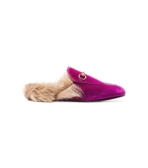 Gucci Horsebit-Detailed Shearing-Lined Velvet Slippers