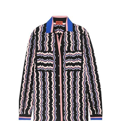 Wool-Blend Crochet-Knit Shirt