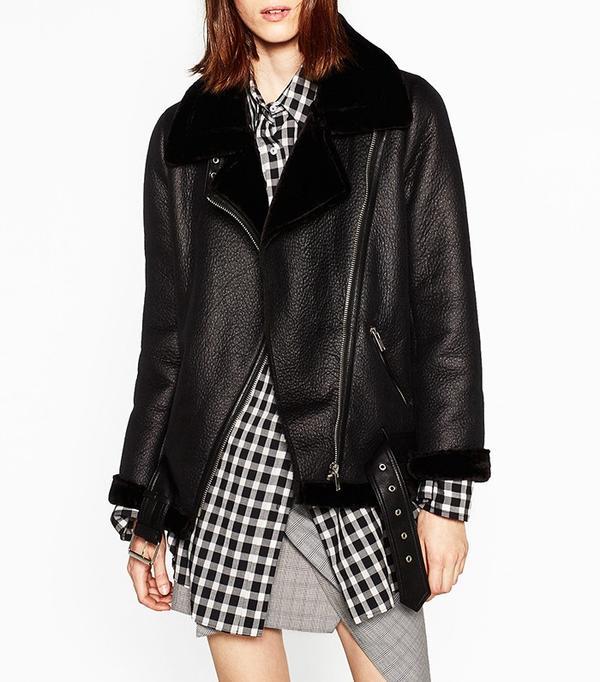 Zara Faux Fur Collar Biker Jacket