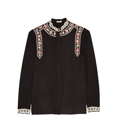 Rachel Embroidered Wool and Cashmere-Blend Blouse