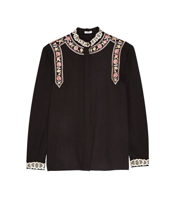 Vilshenko Rachel Embroidered Wool and Cashmere-Blend Blouse