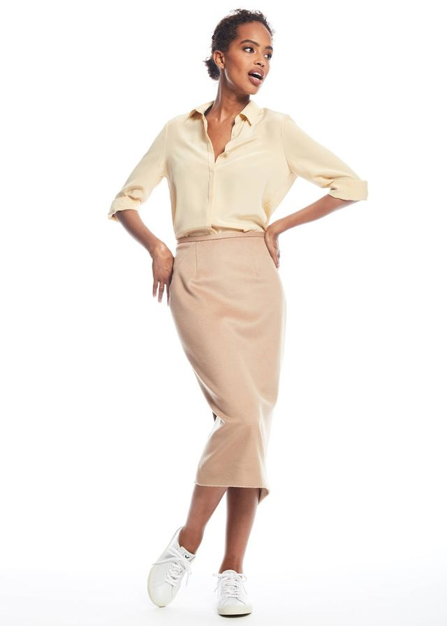 Zady Camel Pencil Skirt