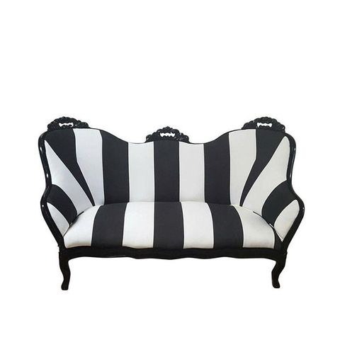Victorian Black & White Stripe Loveseat