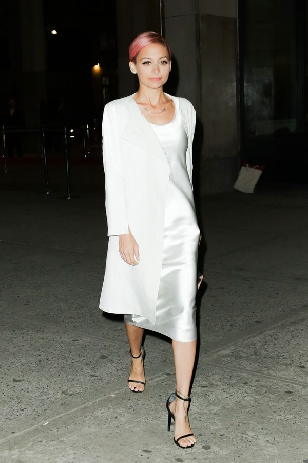 Nicole Richie has been wearing slip dresses since way back. We love this one paired with a matching jacket.
