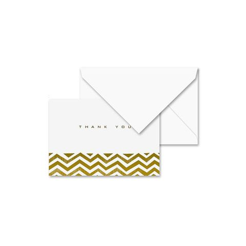 Golden Chevron Thank You Note Card Set of 10