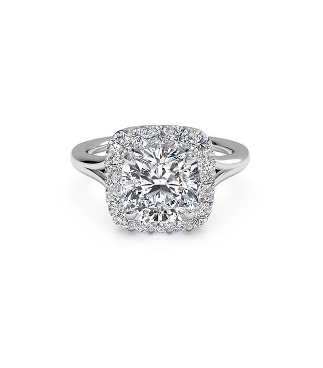 Ritani French-Set Halo Diamond Engagement Ring