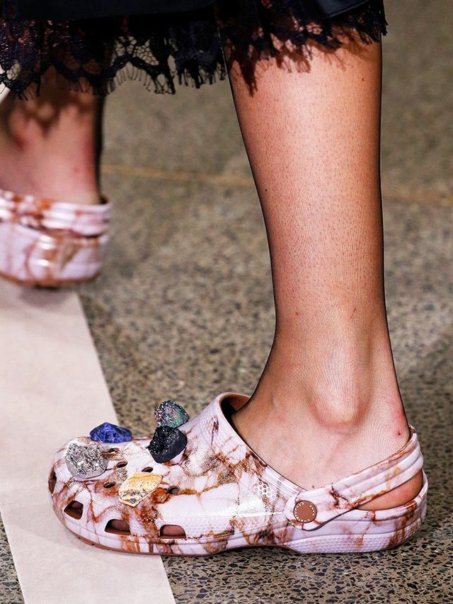 Those marbled Crocs with a bit of lace.