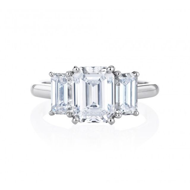 De Beers 1.5 to 1.99 ct. DB Classic Trio Emerald Cut Ring