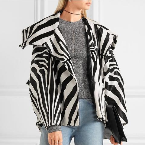 Vaughn Oversized Zebra-Print Calf Hair Jacket