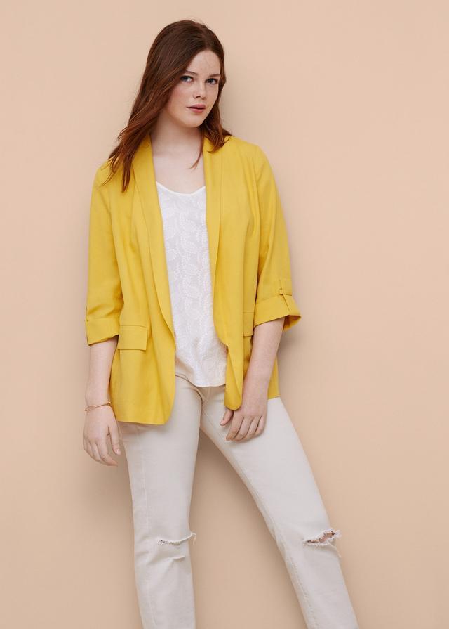 Mango Soft Linen-Blend Jacket