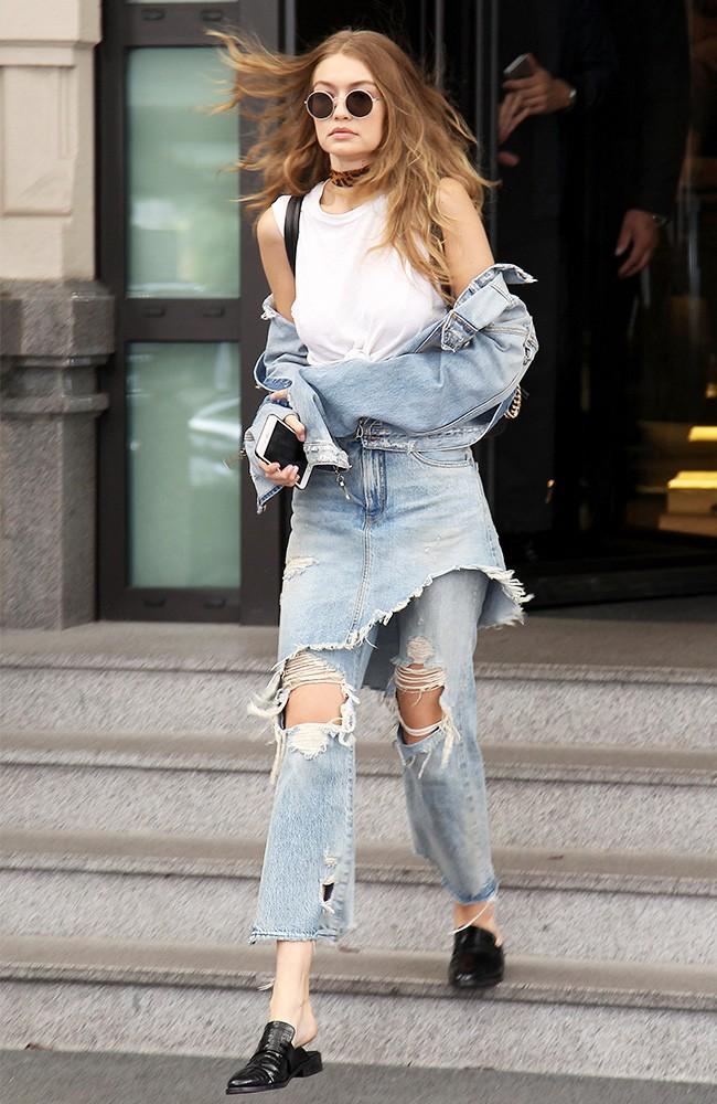 Gigi Hadid layered denim Milan