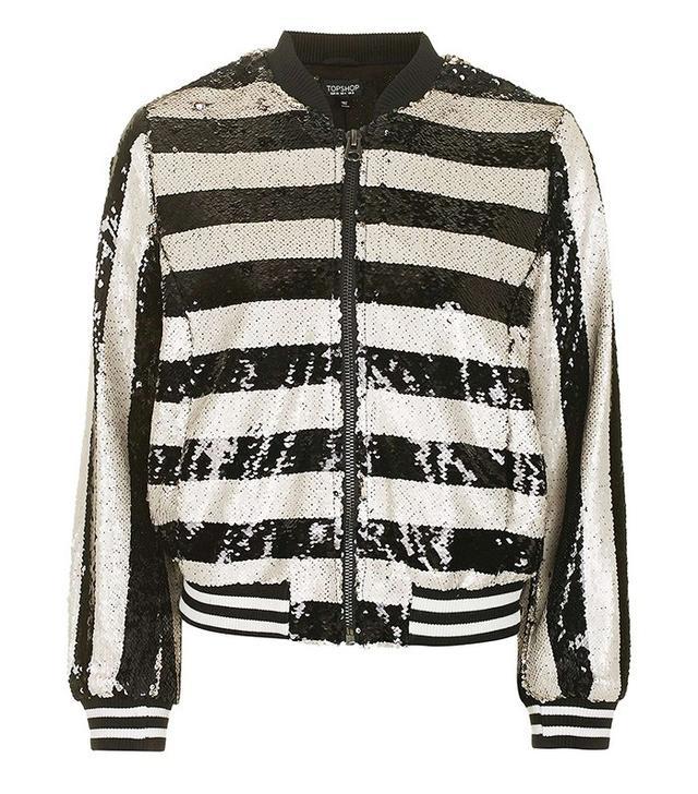 Topshop Stripe Sequin Bomber Jacket