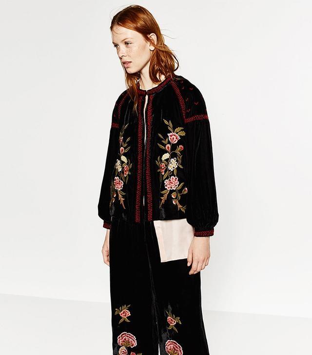 Zara Embroidered Velvet Jacket