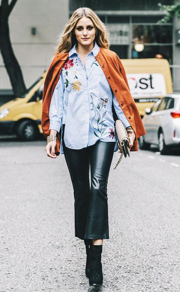 Olivia Palermo Floral Stripe Shirt Leather Pants Street Style