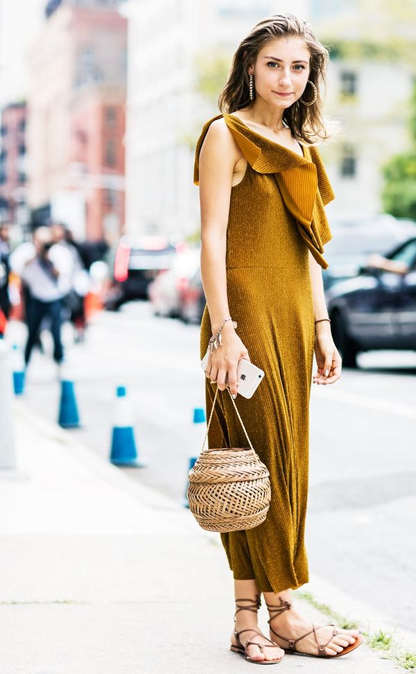 Straw Bucket Bag Golden Jumpsuit Street Style NYFW