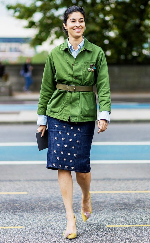 Belted Green Jacket and Denim Skirt Street Style