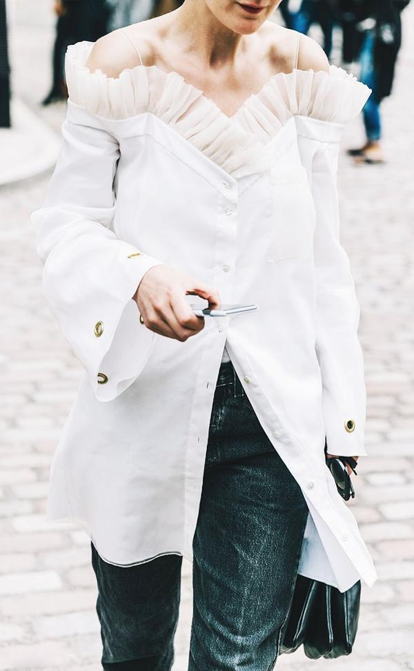 White Tulle Blouse on Denim Street Style London Fashion Week