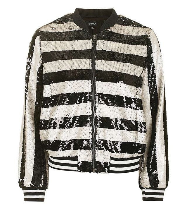 Topshop Stripe Sequin Bomber Jacket