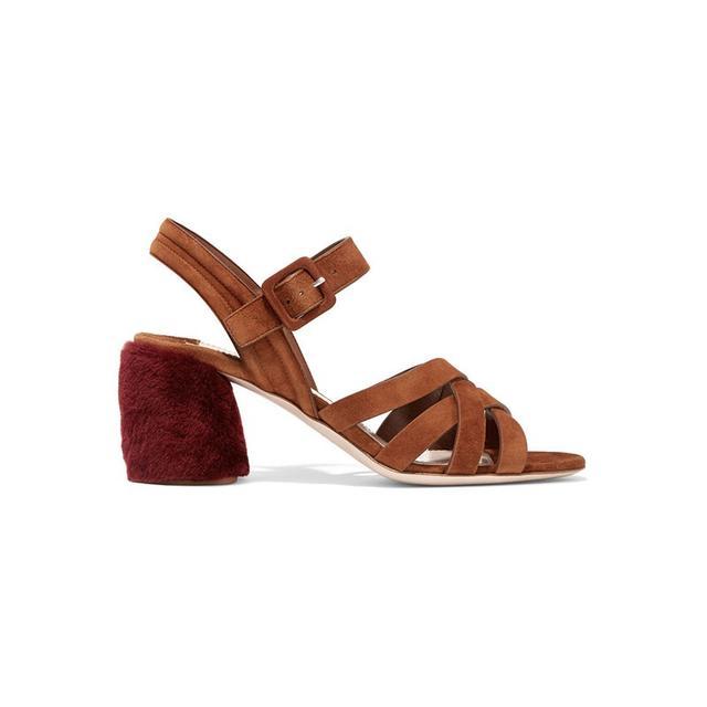 Miu Miu Shearling-Trimmed Suede Sandals