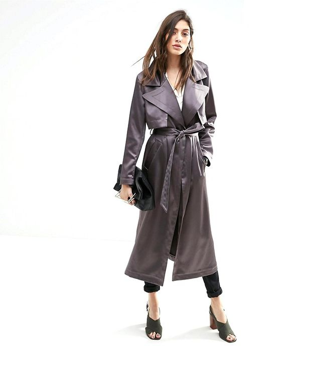 ASOS Trench In Luxe Satin Fabric