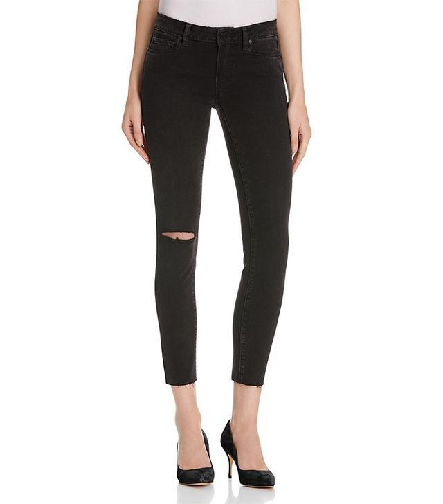 Paige Verdugo Skinny Ankle Jeans In Black Fog