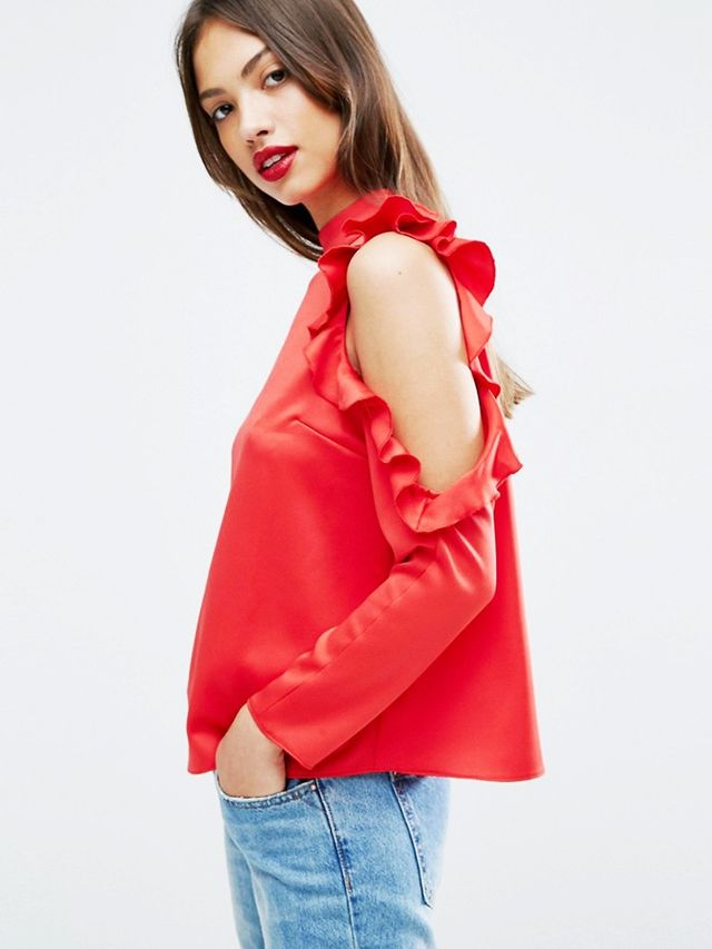 ASOS Satin Top With High Neck and Ruffle Cold Shoulder